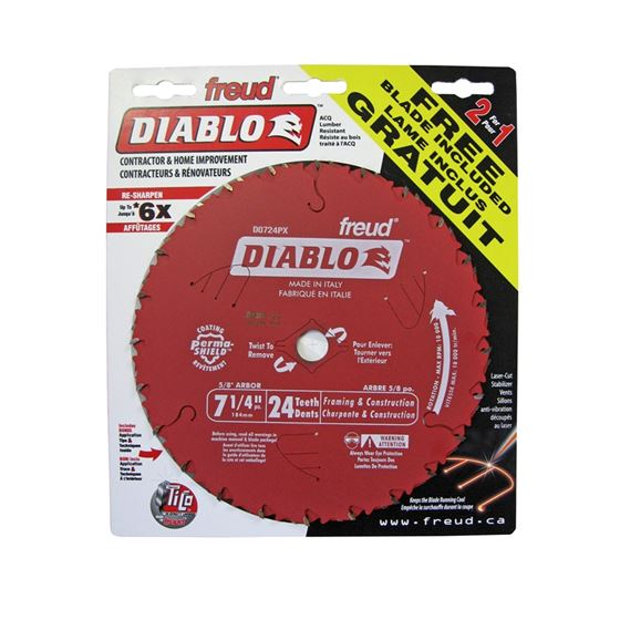 Diablo D0724PX 2 pack 7-1/4 in  x 24 Tooth Framing Saw Blade