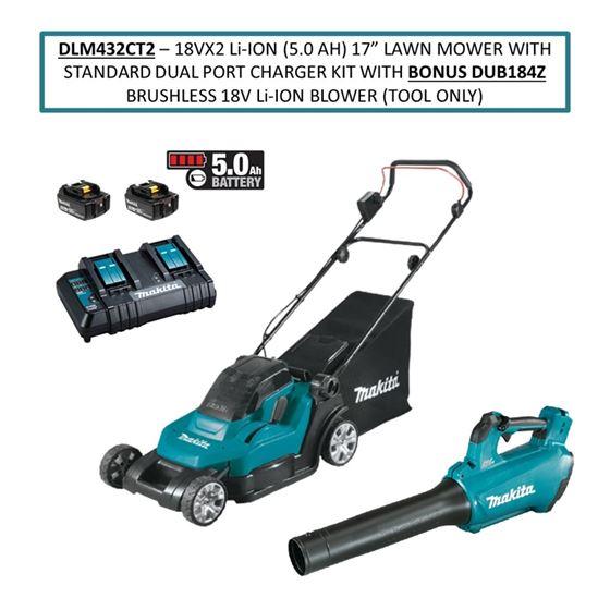"DLM432CT2 18Vx2 Li Ion (5.0 Ah) 17"" Lawn Mower wit"